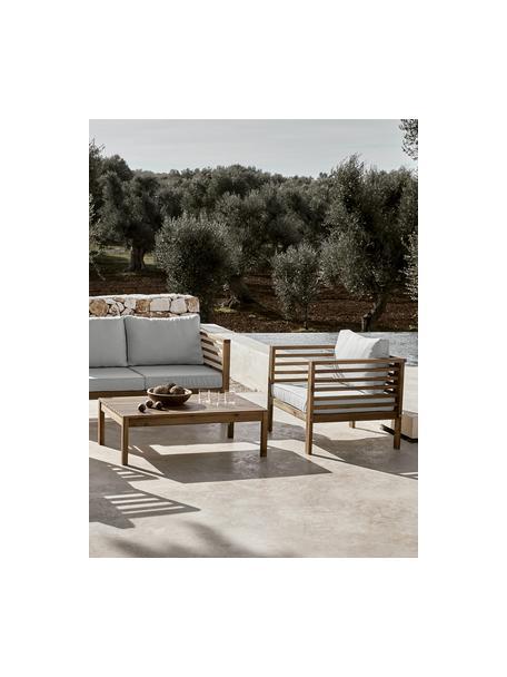 Outdoor loungeset Bo, 4-delig, Frame: massief geolied acaciahou, Bekleding: grijs. Frame: acaciahoutkleurig, Set met verschillende formaten