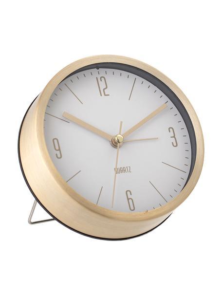 Sveglia Waldo, Cornice: alluminio verniciato, Ottonato, bianco, Larg. 12 x Alt. 12 cm