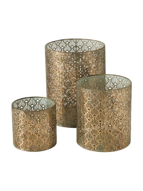 Grosses handgefertigtes Windlicht-Set Marifa aus Metall, 3-tlg., Metall, lackiert, Goldfarben, Set mit verschiedenen Grössen