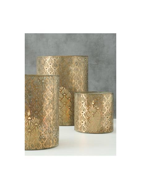 Handgemaakte windlichtenset Marifa van metaal, 3-delig, Gelakt metaal, Goudkleurig, Set met verschillende formaten
