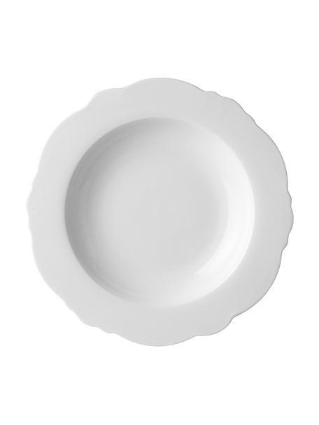 Suppenteller Muschel Loft mit geschwungenem Rand, 4 Stück, Porzellan, Weiss, Ø 23 x H 3 cm