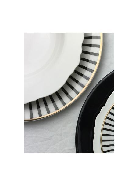 Set van 4 soepborden Muschel Loft met gebogen rand, Porselein, Wit, Ø 23 x H 3 cm