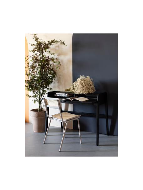 Holz-Schreibtisch Barbier mit rollbarer Abdeckung und geriffelter Front, Schwarz, 110 x 85 cm