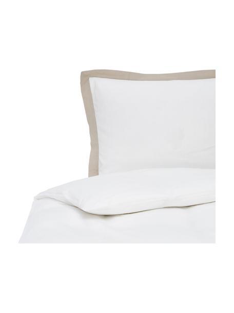Pościel lniana z efektem sprania Eleanore, Biały, beżowy, 135 x 200 cm + 1 poduszka 80 x 80 cm