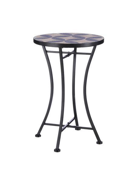 Tuintafel Catona met mozaïek, Frame: gecoat metaal, Tafelblad: beton, keramische tegels, Blauw, beige, zwart, Ø 38 x H 55 cm