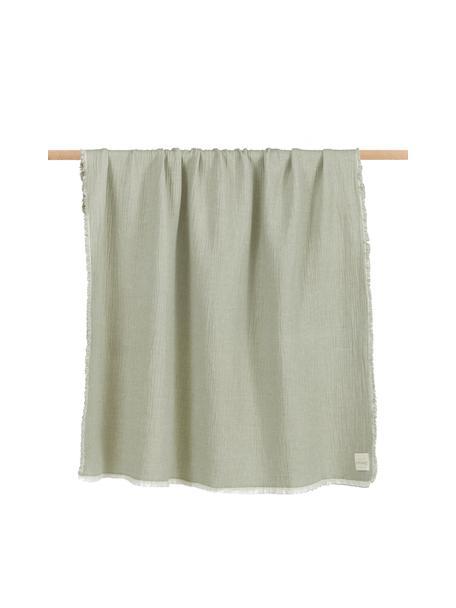Dwustronny koc z bawełny z frędzlami Thyme, 100% bawełna organiczna, Zielony, kremowobiały, S 130 x D 180 cm