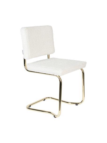 Krzesło podporowe Teddy Kink, Tapicerka: tkanina Teddy (100% polie, Nogi: tworzywo sztuczne, Biały, odcienie mosiądzu, S 48 x G 48 cm