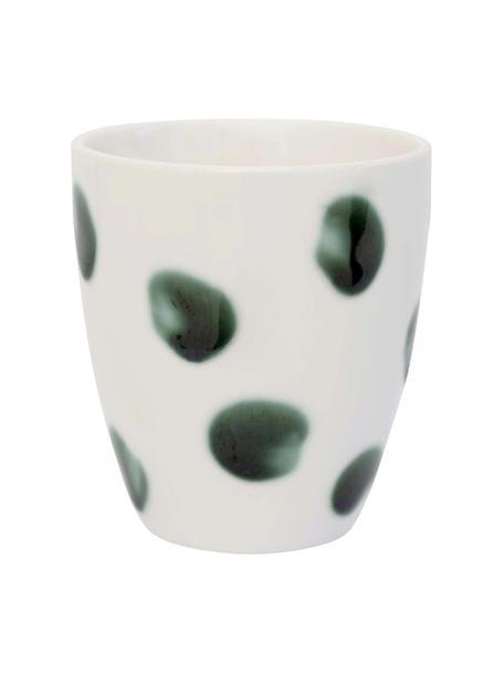 Handbemalte Becher Sparks mit Pinselstrich-Dekor, 2 Stück, Steingut, Weiß, Grün, Ø 8 cm
