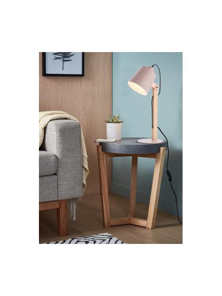 Grote bureaulamp Swivel met houten voet, Lampenkap: metaal, Lampvoet: metaal, Roze, houtkleurig, 16 x 52 cm