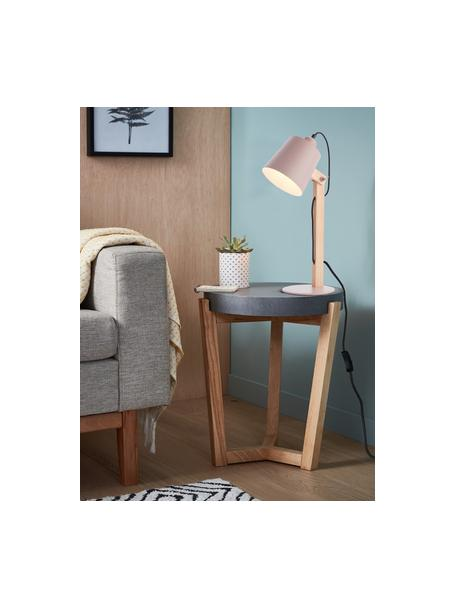 Lampa biurkowa Swive, Blady różowy, drewno naturalne, S 16 x W 52 cm