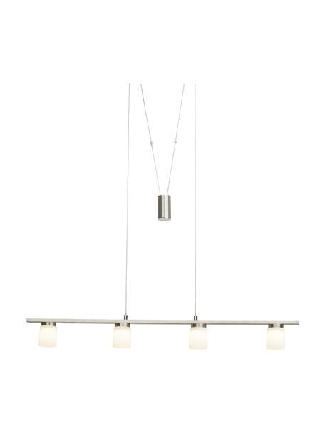 Grote LED hanglamp Betsy van glas, Lampenkap: glas, Baldakijn: metaal, Zilverkleurig, wit, 90 x 90 cm