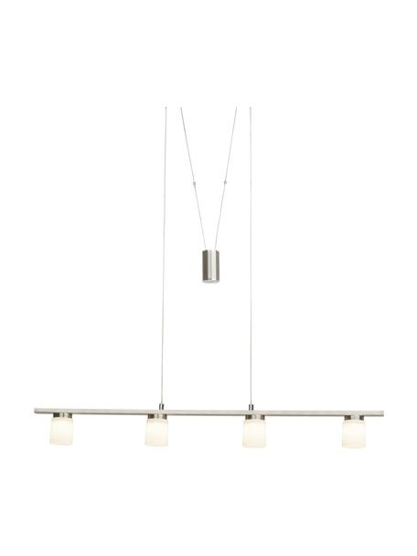 Lámpara de techo grande LED de vidrio Betsy, Pantalla: vidrio, Anclaje: metal, Cable: plástico, Plateado, blanco, An 90 x Al 90 cm