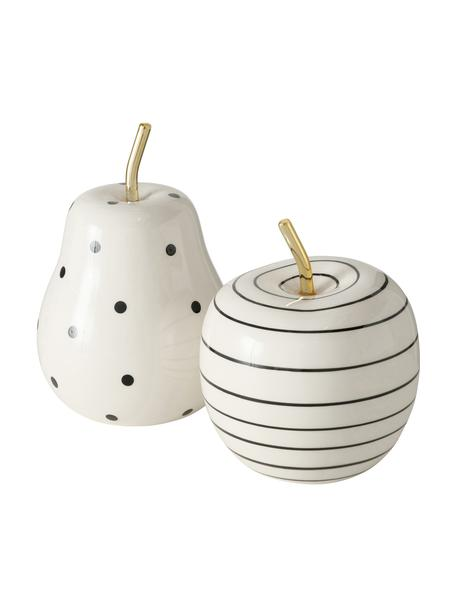 Set 2 oggetti decorativi Primy, Dolomite, Bianco, nero, ottonato, Ø 10 x Alt. 15 cm