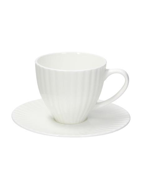 Tazza con piattino in porcellana bianca con rilievo scanalato Nala 2 pz, Fine Bone China (porcellana) Fine bone china è una porcellana a pasta morbida particolarmente caratterizzata dalla sua lucentezza radiosa e traslucida, Bianco, Ø 9 x Alt. 7 cm