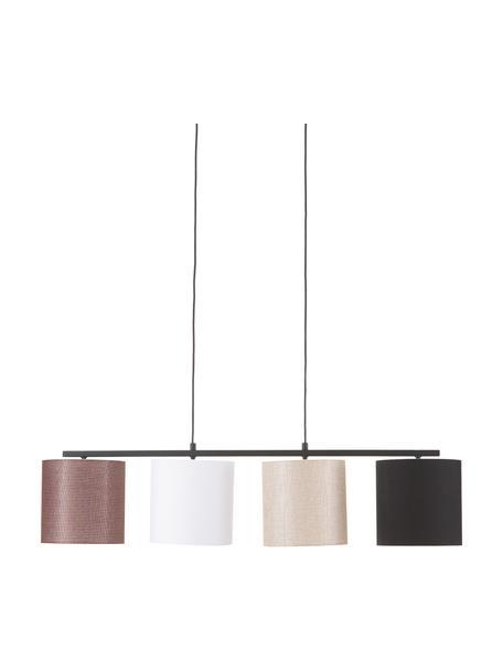 Grote hanglamp Valiz met stoffen lampenkap, Lampenkap: textiel, Baldakijn: gecoat metaal, Zwart, beige, wit, bruin, 110 x 22 cm
