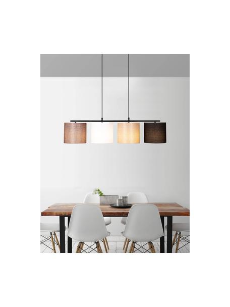 Lámpara de techo grande Valiz, Estructura: metal recubierto, Anclaje: metal recubierto, Cable: plástico, Negro, beige, blanco, marrón, An 110 x Al 120 cm