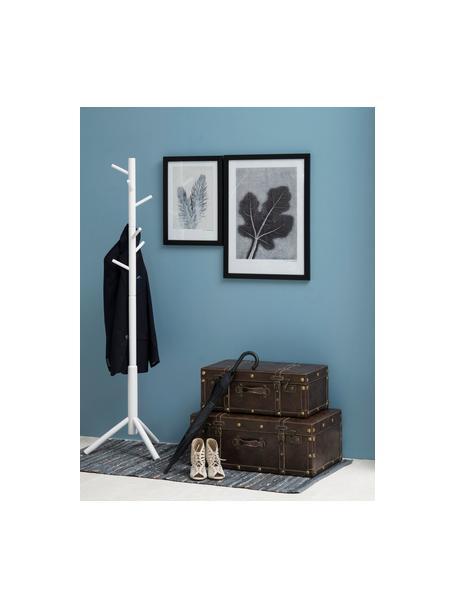 Perchero de madera Bremen, 6 ganchos, Madera de caucho pintada, Blanco, An 51 x Al 176 cm