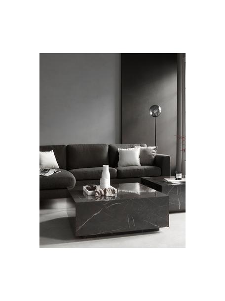 Stolik kawowy z imitacji marmuru Lesley, Płyta pilśniowa średniej gęstości (MDF) pokryta folią melaminową, Czarny, marmurowy, błyszczący, S 90 x W 35 cm