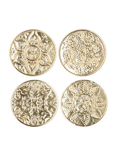 Set 4 sottobicchieri Floral, Ottone martellato, Ottone, Ø 10 cm