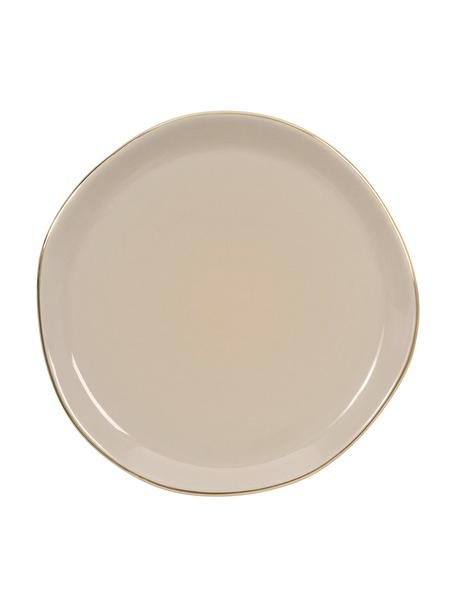 Broodbord Good Morning in grijs met goudkleurige rand, Ø 17 cm, Porselein, Grijs, goudkleurig, Ø 17 cm
