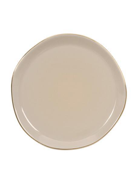 Dessertteller Good Morning in Grau mit Goldrand, Ø 17 cm, Porzellan, Grau, Goldfarben, Ø 17 cm