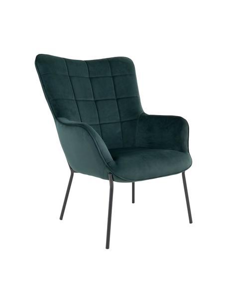 Poltrona in velluto verde scuro Glasgow, Rivestimento: 100% velluto di poliester, Piedini: metallo rivestito, Verde scuro, Larg. 70 x Prof. 79 cm