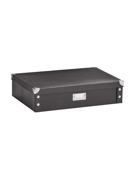 Aufbewahrungsbox Karo, Papier, Pappe, Metall, Schwarz, 45 x 11 cm