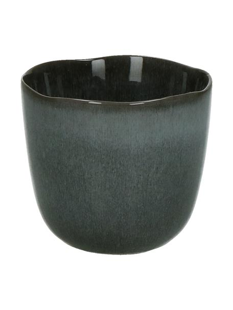 Keramische beker Pauline in donkergrijs, 2 stuks, Keramiek, Donkergrijs, Ø 8 x H 7 cm