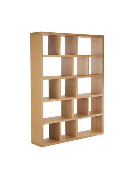 Libreria grande con rivestimento in legno di quercia Portlyn, Superficie: impiallacciato in vero le, Legno di quercia, Larg. 150 x Alt. 198 cm