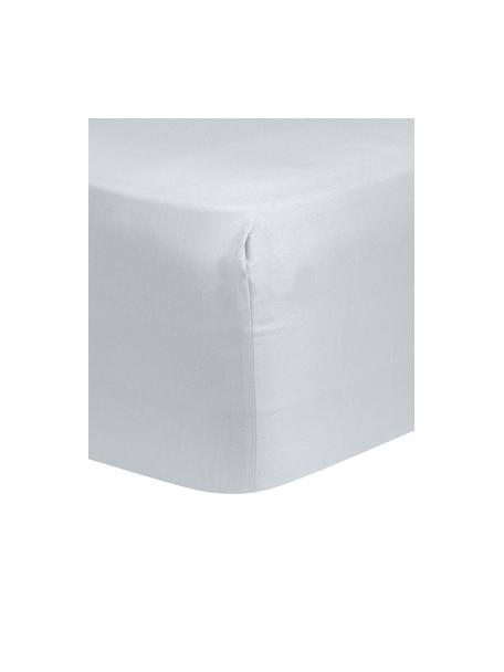 Lenzuolo con angoli in raso di cotone grigio chiaro Comfort, Grigio chiaro, Larg. 90 x Lung. 200 cm