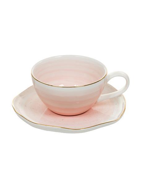 Handgemaakt kopje met schoteltje Bella met goudkleurige rand, 2-delig, Porselein, Roze, Ø 10 x H 6 cm