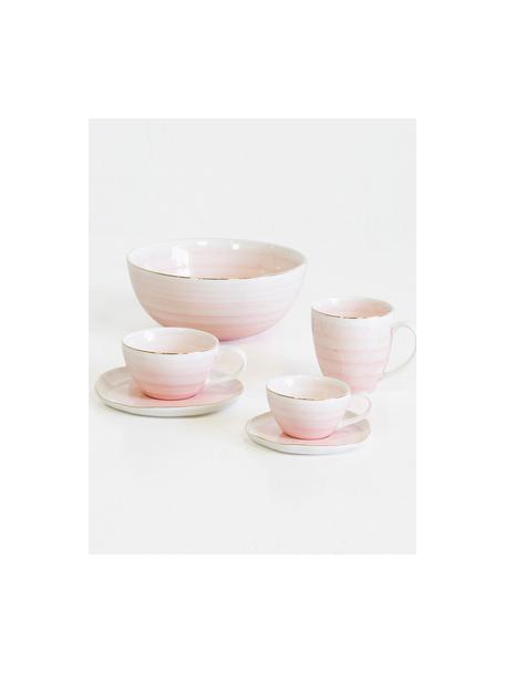 Handgemachte Tassen mit Untertassen Bella mit Goldrand, 2er-Set, Porzellan, Rosa, Ø 10 x H 6 cm