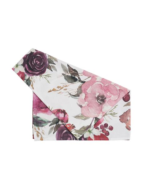 Baumwoll-Tischläufer Florisia mit Blumenmotiven, 100% Baumwolle, Rosa, Weiß, Lila, Grün, 50 x 160 cm