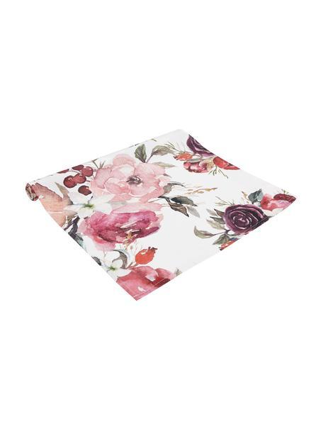 Bieżnik z bawełny Florisia, Bawełna, Blady różowy, biały, lila, zielony, S 50 x D 160 cm