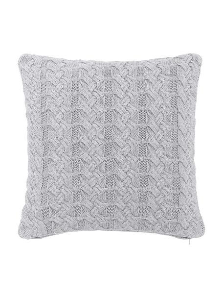Strick-Kissenhülle Caleb mit Zopfmuster, 100% Baumwolle, Grau, 40 x 40 cm