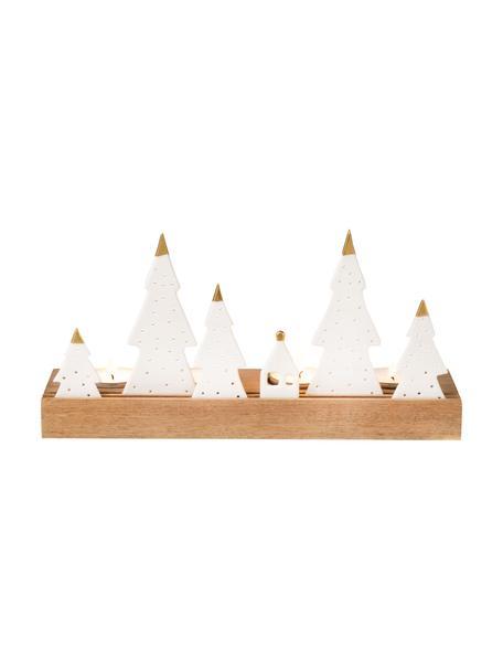 Teelichthalter Trees aus Porzellan/Akazienholz, Sockel: Akazienholz, Weiß, Goldfarben, Beige, 25 x 13 cm