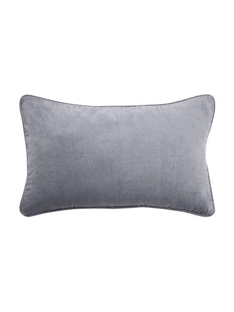 Federa arredo in velluto grigio scuro Dana, Velluto di cotone, Grigio scuro, Larg. 30 x Lung. 50 cm