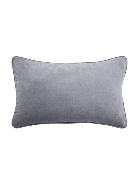 Effen fluwelen kussenhoes Dana in grijs, Katoenfluweel, Grijs, 30 x 50 cm