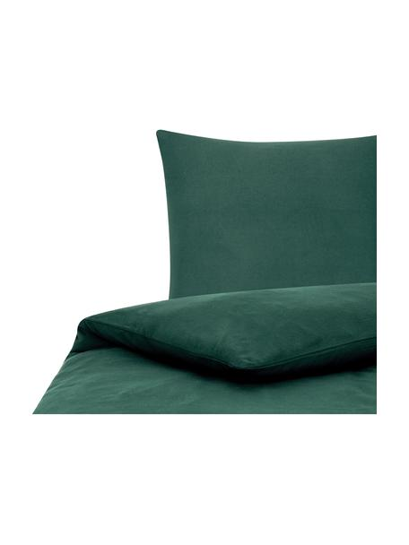 Pościel z flaneli Biba, Leśny zielony, 135 x 200 cm + 1 poduszka 80 x 80 cm