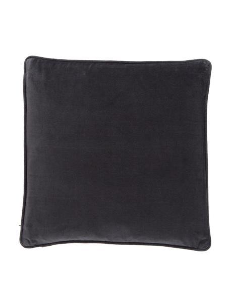 Effen fluwelen kussenhoes Dana in antraciet, 100% katoenfluweel, Zwart, 40 x 40 cm