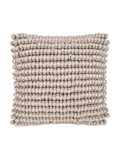 Kissenhülle Iona mit kleinen Stoffkugeln in Beige, Vorderseite: 76% Polyester, 24% Baumwo, Rückseite: 100% Baumwolle, Beige, 45 x 45 cm