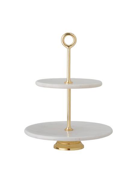 Marmeren etagère Abha met goudkleurig frame, Plateaus: marmer, Stang: gecoat metaal, Wit, Ø 31 x H 36 cm
