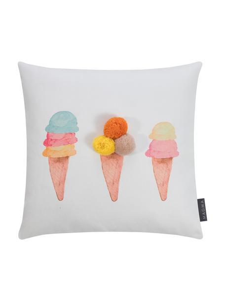 Kissenhülle Summerly mit Eismotiven und Pompons, 100% Polyester, Weiß, Mehrfarbig, 40 x 40 cm