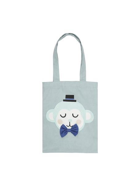 Bolsa de tela de algodón ecológico Monkey Monty, 100%algodón ecológico, Azul, blanco, rosa, negro, An 25 x Al 32 cm