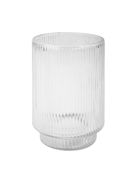 Tazza per lo spazzolino in vetro scanalato Ligia, Vetro, Trasparente, Ø 7 x Alt. 11 cm