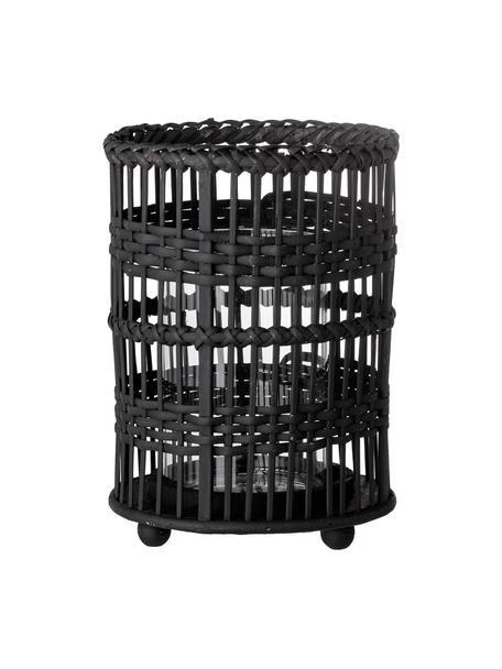 Portavelas de ratán Ronn, Portavelas: ratán, Negro, Ø 16 x Al 23 cm
