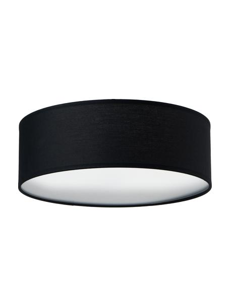 Handgemaakte plafondlamp Mika, Lampenkap: katoen, Diffuser: kunststof, Zwart, Ø 30 x H 10 cm