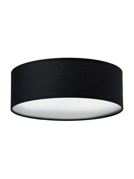 Plafón Mika, Pantalla: algodón, Negro, Ø 30 x Al 10 cm