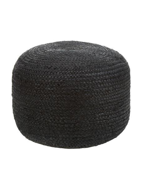 Handgemaakte poef Bono van jute, Bekleding: jute, Zwart, Ø 50 x H 36 cm