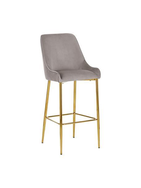 Krzesło barowe z aksamitu Ava, Tapicerka: aksamit (100% poliester) , Aksamitne taupe, S 48 x W 107 cm
